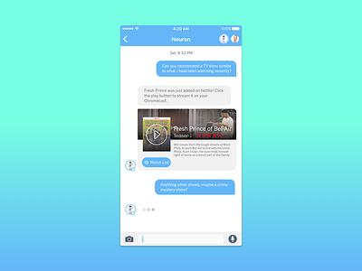 Neuron's Integration Cards (Netflix) ai card ui cards messaging app machine learning messaging message