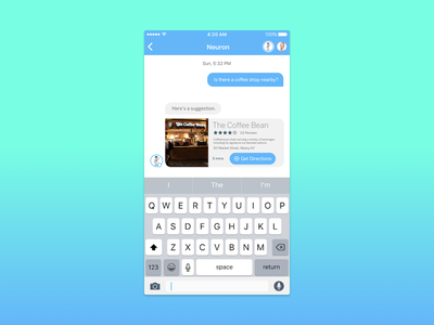 Neuron's Integration Cards (Yelp) yelp coffee message messaging machine learning messaging app cards card ui ai