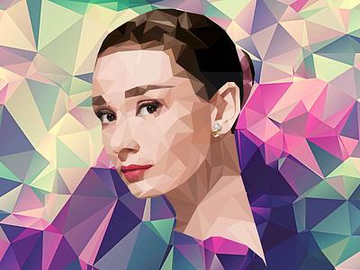 Audrey Hepburn Illustration polygon triangles poster art geometric audrey hepburn illustration