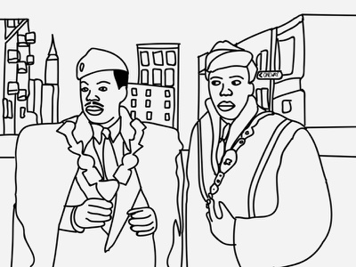 Coming to America movie vector art illustration drawing coming to america