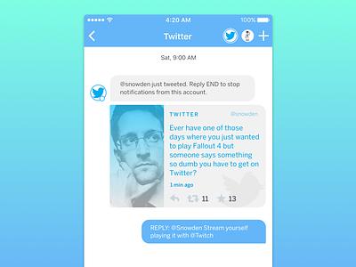 Neuron's Integration Cards (Twitter) snowden card ai card ui cards messaging app machine learning messaging message tweet twitter