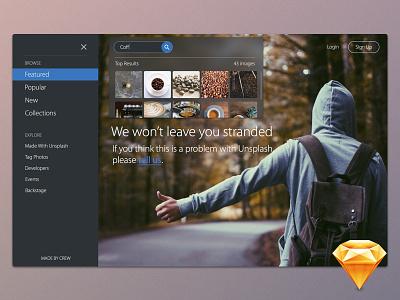 Unsplash.com 404 Page - Free Shots Fridays minimal clean download ui sketchapp free sketch freebie search results search 404 unsplash