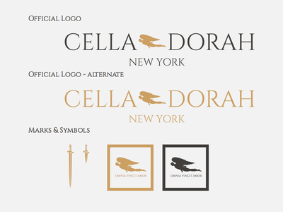 Cella Dorah Logo & Marks logo mark symbol identity commerce clothing design illustration brand sword angel