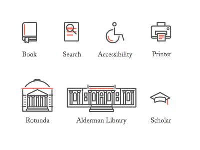 Digital Signage Icons scholar printer accessibility search book virginia uva library education illustration icons iconography