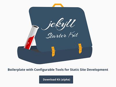 Jekyll Starter Kit vector flat open source kit branding logo design sketch illustration briefcase jekyll