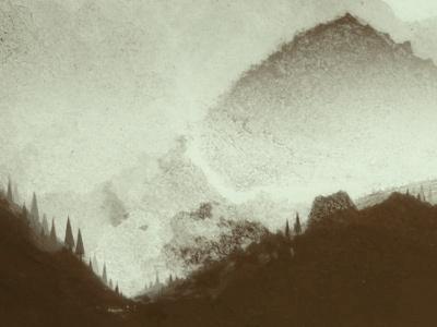 Forgotten Land landscape trees pines mountains nature rough misty mist grunge texture hill hills clouds outdoors