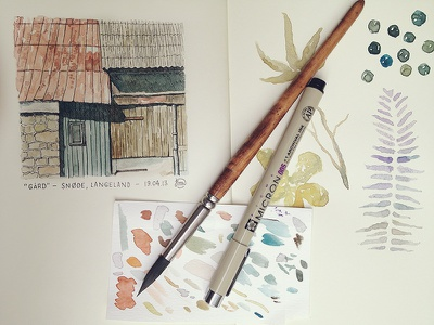 Watercolor watercolor watercolour paint painting brush pen micron moleskine leaves berries analogue spread barn roof rust