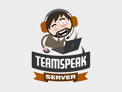 Teamspeak Server logo vector teamspeak dude guy laptop comic cartoonish team speak