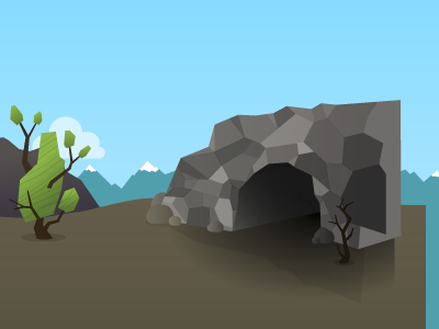 Cave WIP cave wip cut edge tree earth mountains snow peaks sky cloud heaven blue brown rocks branches shadow entrance zoom out stone age