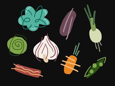 Food food vegetables clean minimalist carrot eggplant onion bacon lettuce cabbage peas