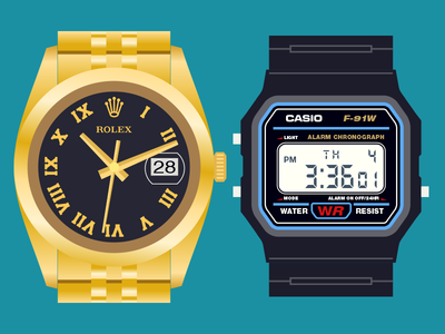 ROLEX CASIO rolex casio watches vector retro bling gold time clean numbers