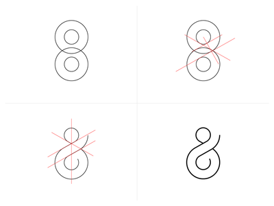 Ampersand circles simple vector process guides icon logo ampersand