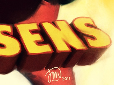 SENS sens typo typography bold paint letters writing legs orange yellow 3d title outline red texture brush