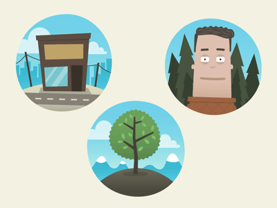 3 Icons icons store tree nature person round circle circles hills mountains hill trees pines pine road city clouds vector simple leafs sky