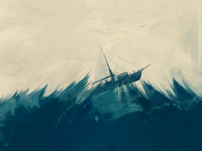 Stormy stormy boat ocean waves rough ship sail disaster nature power elements sky texture grunge brush paint natural media