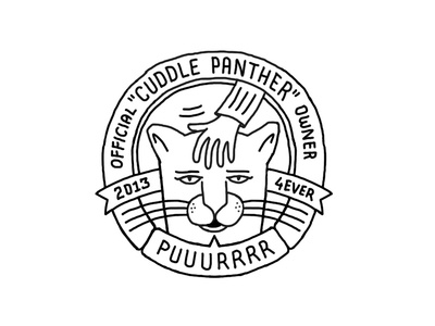 Cuddle Panther cuddle panther seal official owner ownership outline outlines sketch animal girl female purr hand stamp cuddle panther seal of ownership