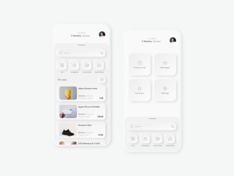 Marketplace for selling used stuff ad sell stuff marketplace mobile app ui white neomorphic neomorphism neumorphic design concept
