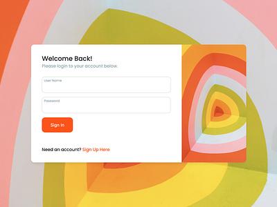 Simple, Colorful Login Form product design web development login form