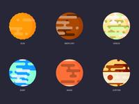 Sun + 5 Planets