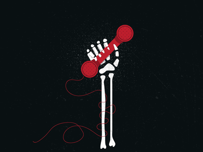 Death of the Cold Call blog illustration phone calling halloween skeleton