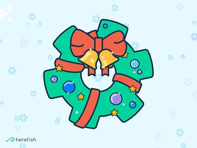 Herefish Christmas Wreath illustration holidays gear cog wreath xmas christmas