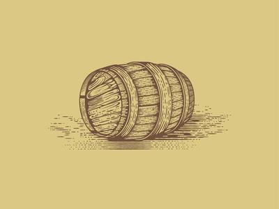 Wooden Barrel  vintage illustration