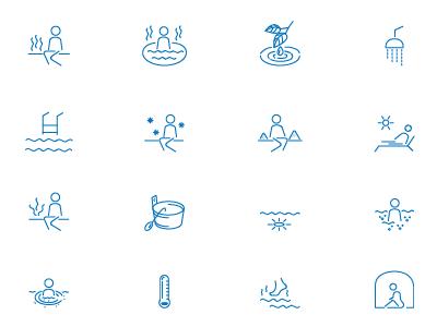 Sauna and bath icons set