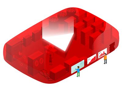 YouTube factory illustration you tube web design isometric illustration