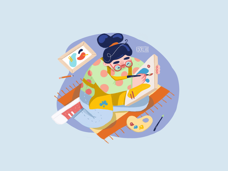Drawing canvas web mobile artist ui art design procreate girl digital character illustration drawing