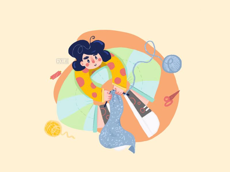 Knitting cute design web mobile app mobile ui girl art flat digital procreate illustration handmade knitting