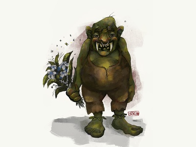 Troll beast illustration character digital art digital ad drawing procreate green flowers kind monster troll