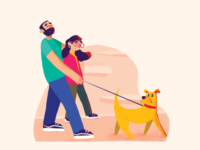 Valentine's Day valentines day flat romantic dog character illustration love pet family couple day valentines