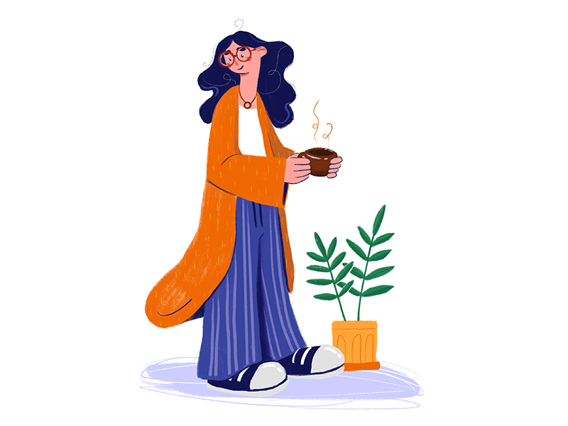 Mornings coffee spring girl character illustration girl procreate ootd hippie drawing digital design art flat charactedesign character good morning