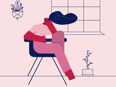 Mornings red color ui graphic outline plants coffee morning girl illustrator icon app flat 2d art 2d vector design digital drawing illustration character