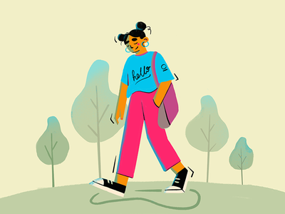 Walking hello chill texture nature graphic art character girl walk happiness park simple design flat illustration 2d