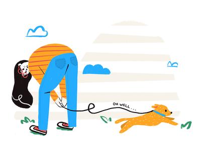 Oh Well cartoon minimal woman pet digital park walk dog girl flat  design flat illustration character drawing art 2d