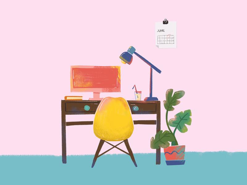 Home scene decor plants window cactus interior 2d procreate flat drawing illustration home