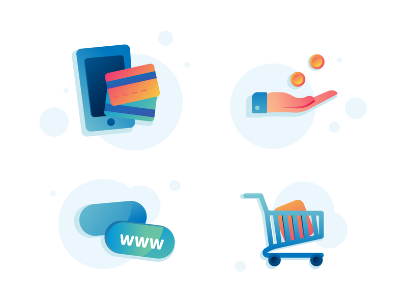 Online Payments Icons cart card mobile request graphics vector icon packaging icons payment online