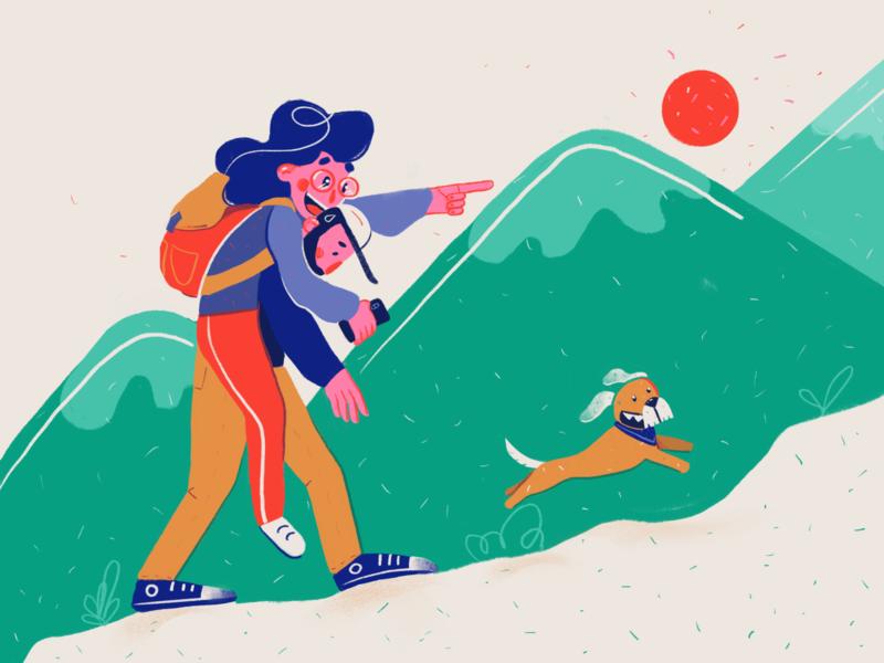 Family Trip design procreate texture character dog 2d art 2d illustration drawing flat illustration flat couple pet family trip mountain