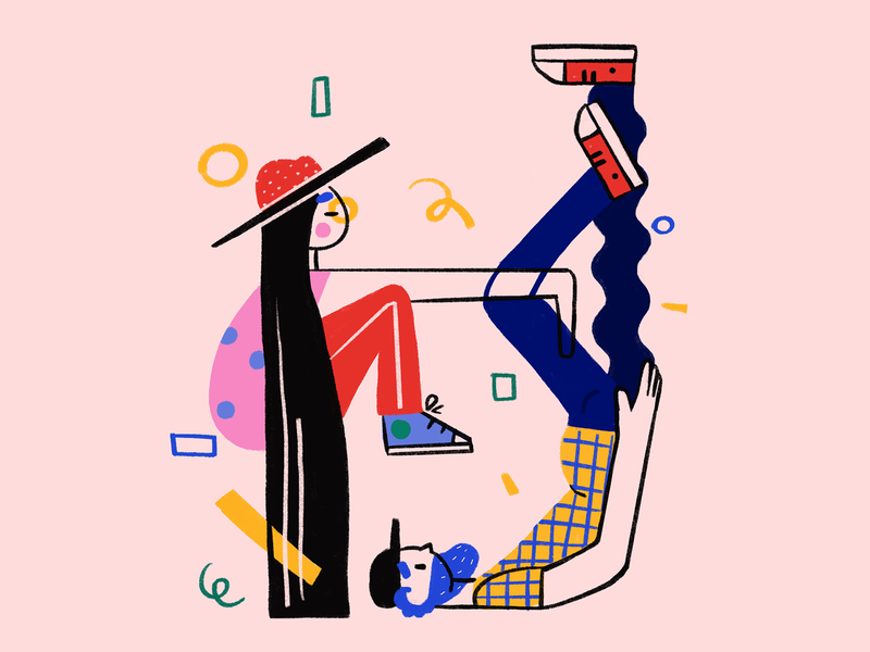 Chilling couple chill geometric graphic art design procreate girl digital 2d flat character illustration drawing