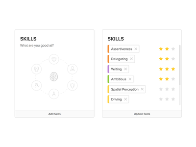 About me - Skills tags ui elements xello ui ux skech