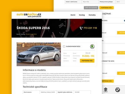Auto za kačku - Detail detail page adobe xd user experience ui user interface operational leasing leasing auto car