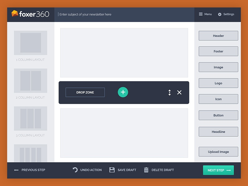 Newsletter builder   Drag and drop   Wireframes by Marcel Lacko