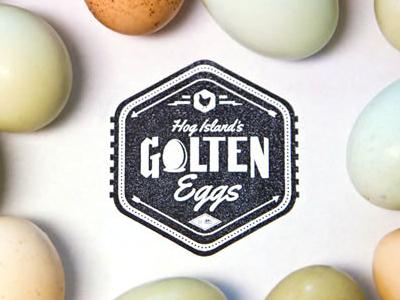 Hog Island's Golten Eggs logo seal brandmark brand identity stamp sticker