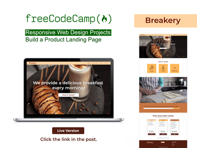 Breakery - FCC - Product Landing Page bakery landing page freecodecamp