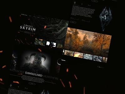 Elder Scrolls V Skyrim Concept rpg figma interface black website game skyrim bethesda landing page concept design ui