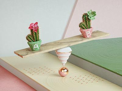 """A/B testing"" Key Visual illustration cute colorful pink composition creative octane cinema4d key visual 3d"
