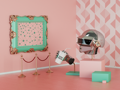 """Machine Learning"" Key Visual daily cute basicform pattern creative illustration colorful artwork art pink octane cinema4d c4d composition 3d"