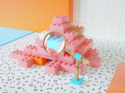 """Software Testing"" design lowpoly pattern cute basicform creative illustration colorful artwork art pink octane cinema4d c4d composition 3d"