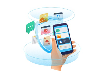 Filtering Illustration hand holding phone insecure website icon illustration protective shield information security network security firewall content filtering filtering sandor iconography illustration message scene sms dialogue chat social app data security take the phone